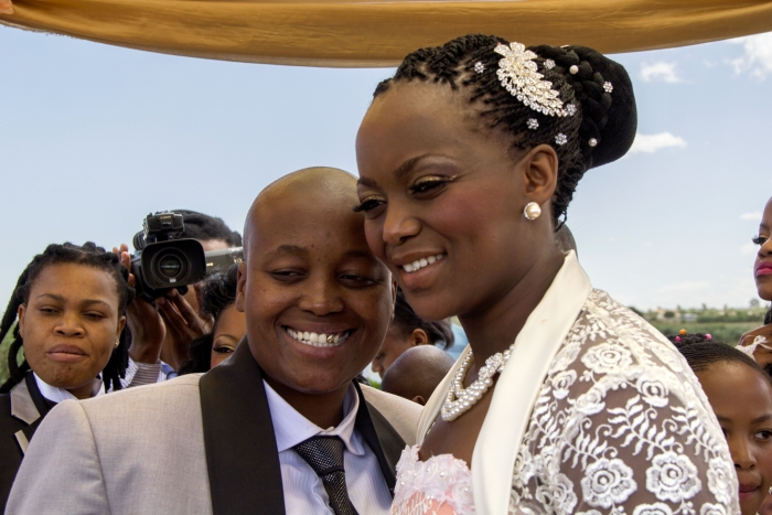 Zanele Muholi (South African, born 1972). Ayanda & Nhlanhla Moremi's wedding I. Kwanele Park, Katlehong, 9 November 2013, 2013. Chromogenic photograph, 107⁄16 x 149⁄16 in. (26.5 x 37 cm), framed. © Zanele Muholi. Courtesy of Stevenson, Cape Town/Johannesburg and Yancey Richardson, New York