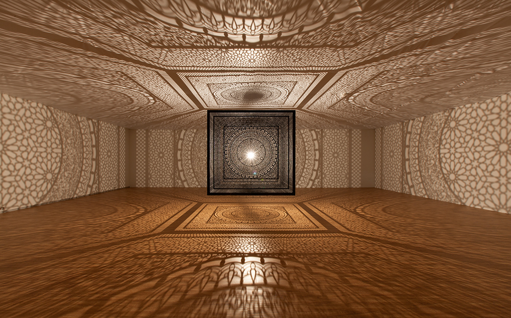 Anila Quayyum Agha,  Intersections  at Dallas Contemporary , 2015. Photographed by Kevin Todora. Courtesy of ArtPrize Dallas and Dallas Contemporary.