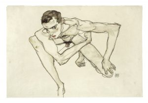 Egon Schiele, Self-Portrait in Crouching Position 1913